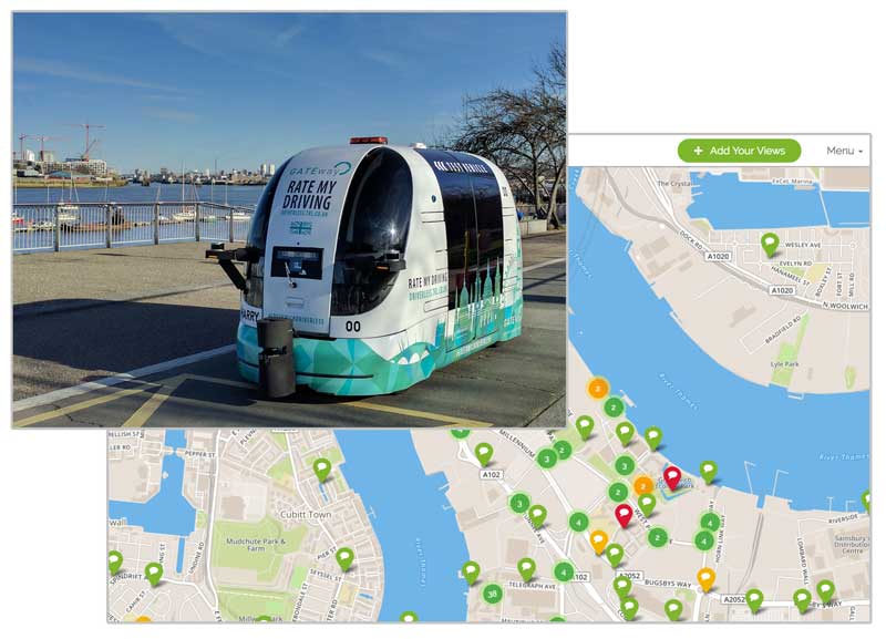 Photo of one of the driverless vehicles and preview of a Commonplace map with comments.