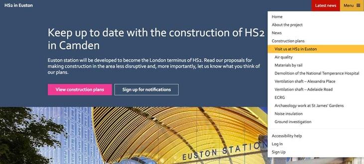 Screenshot of HS2 in Euston navigation